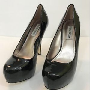 Steve Madden Nala Black Patent Leather Heels 7.5
